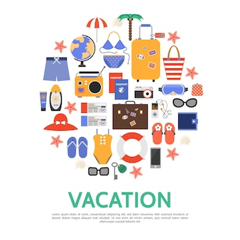 Flat beach vacation concept with bags palm globe sunglasses lifebuoy wallet umbrella passport tickets