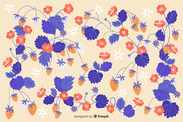 Flat beautiful blue flowers background