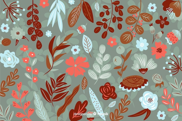 Flat beautiful floral background in sepia coloured shades