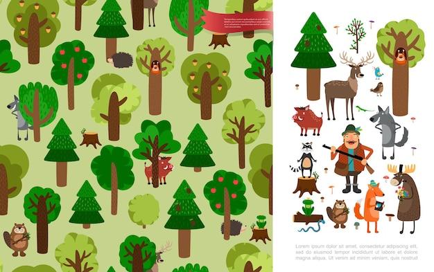 Плоский красивый лес с милыми животными, охотником на птиц, держащим оружие, деревья и цветы