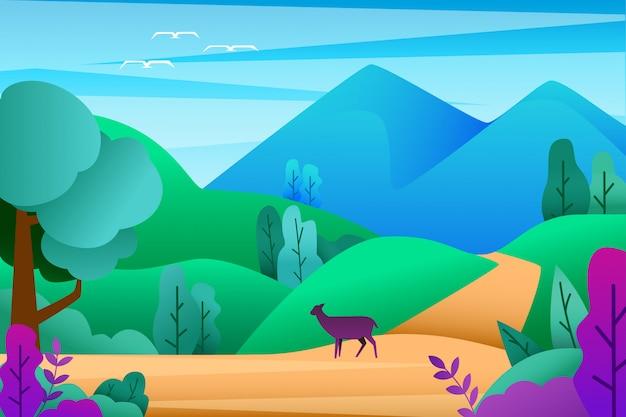 Flat beautiful landscape with mountain