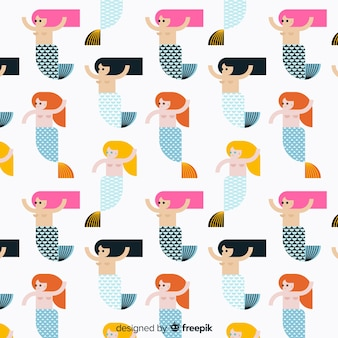 Flat beautiful mermaid pattern background