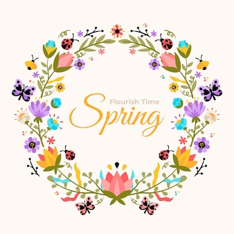 平らな美しい春の花のフレーム