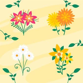 평평한 아름다운 봄 꽃 모음