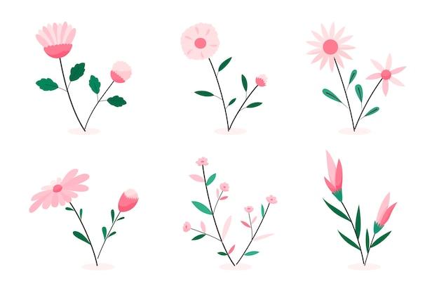 Bella collezione di fiori primaverili piatta