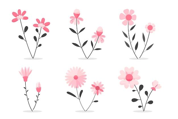 フラットで美しい春の花コレクション