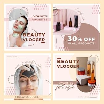 Flat beauty instagram post set