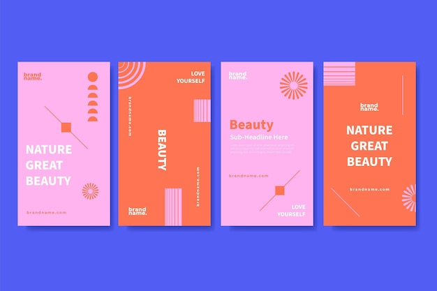 Flat beauty instagram stories collection