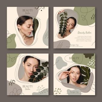 Flat beautyinstagramストーリーコレクションテンプレート