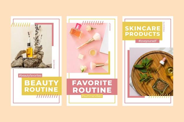 Flat beauty instagram story set