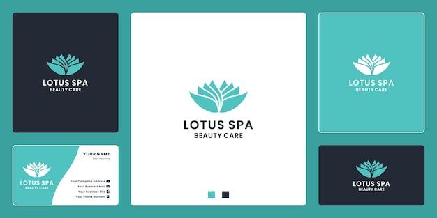 スパ、ヨガ、美容ケアのためのフラットビューティーロータススパのロゴデザイン
