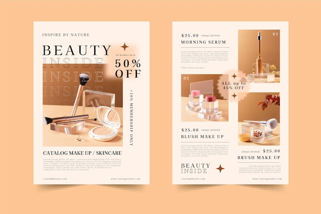 Flat beauty product catalog
