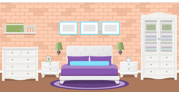 Flat bedroom .  illustration. background with brick wall.