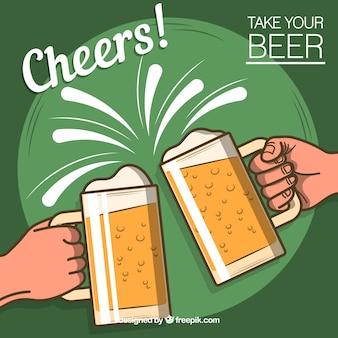 平らなビールの背景