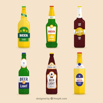 Flat beer bottle collection with label
