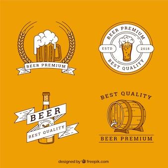 Коллекция логотипов с плоским пивом