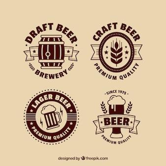 Flat beer logo collection Premium Vector