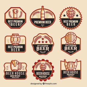Collezione logo birra piatta