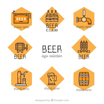 Flat beer logo collection