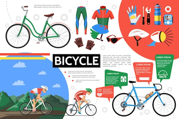 Flat bicycle infographic with cyclists bikes sportswear helmet glasses gloves bell screwdriver wrench bottle