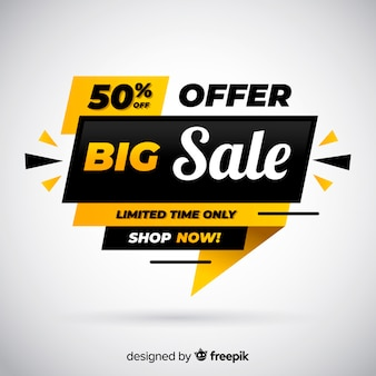 Flat big sale banner template