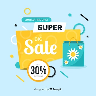 Flat big sale banner template