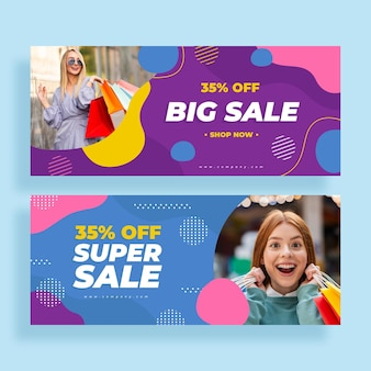 Flat big sales banners with photo