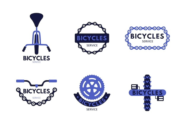 Modello di raccolta logo bici piatta