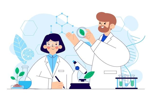 Иллюстрированная концепция плоской биотехнологии