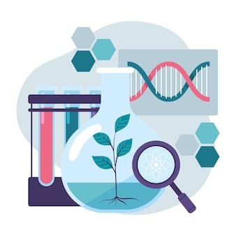 Плоская иллюстрация концепции биотехнологии