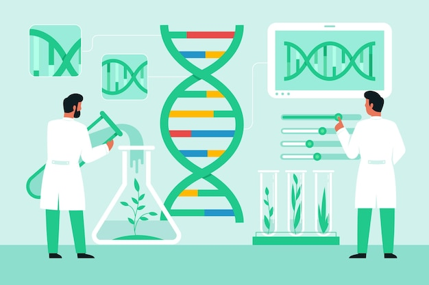 Flat biotechnology concept with scientists