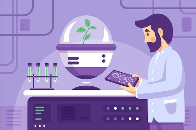 Плоская иллюстрация биотехнологии