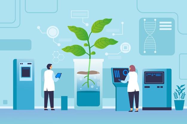 Flat biotechnology illustration