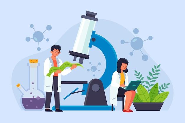 Плоская иллюстрация лаборатории биотехнологии
