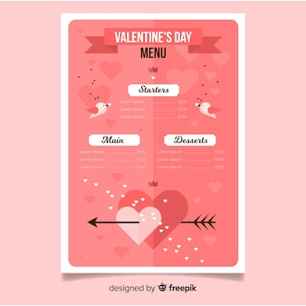 Flat birds valentine menu template