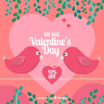 Flat birds valentine sale background
