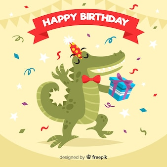 Flat birthday animal background