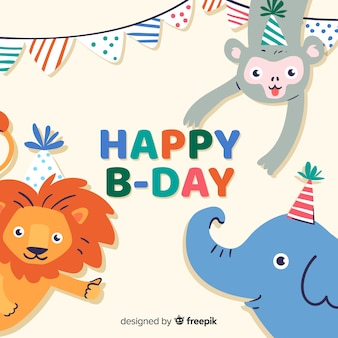 Flat birthday animal background