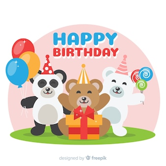Flat birthday animal