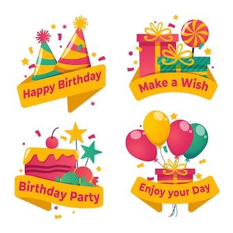Коллекция плоских значков на день рождения