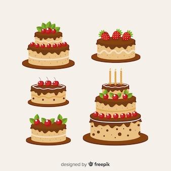 フラットバースデーケーキコレクション