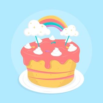 토퍼와 함께 플랫 생일 케이크