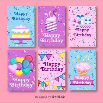 Flat birthday card collection with party elements