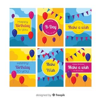 플랫 생일 카드 컬렉션