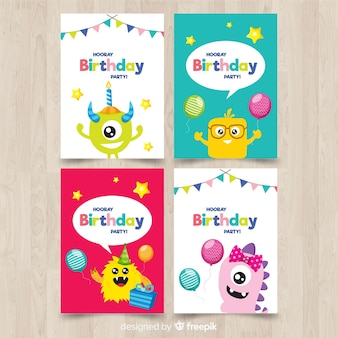 Flat birthday card collection