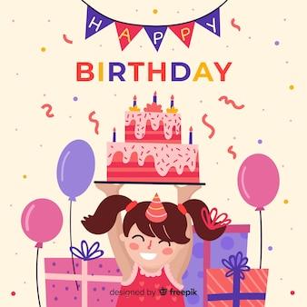 Flat birthday children background