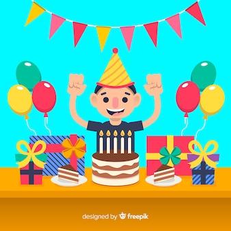 Плоский день рождения детей фон