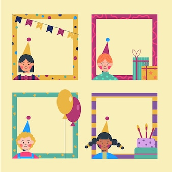 Flat birthday collage frame collection