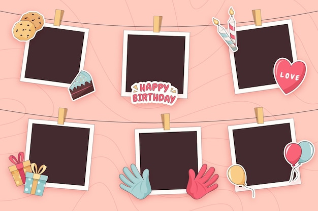 Flat birthday collage frame pack