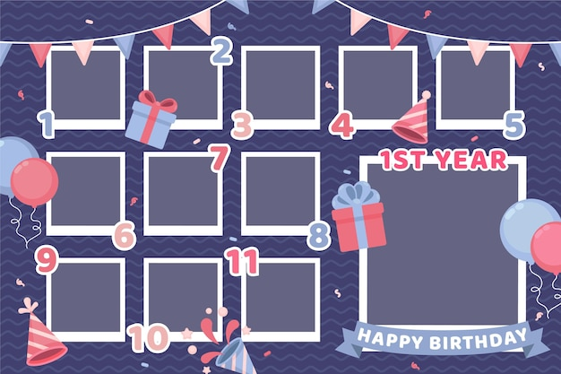 Flat birthday collage frame set